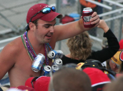 man with beer having fun
