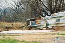overturned trailer